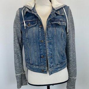 ⭐️Free People denim & knit detachable hood jacket